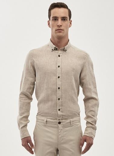 Beymen Business Uzun Kollu Keten Gömlek Bej